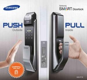 Khóa cửa vân tay Samsung SHS-P718 với kiểu dáng Push - Pull